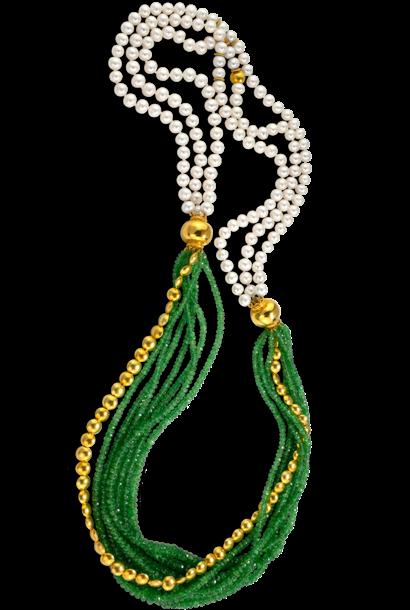 "Tsavorite & Chinese Freshwater White Pearls Necklace - 34"""