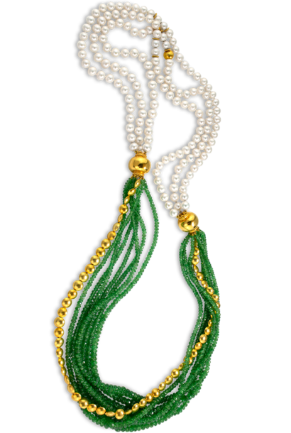 Tsavorite Garnet & Chinese Freshwater White Pearls Necklace - 34""