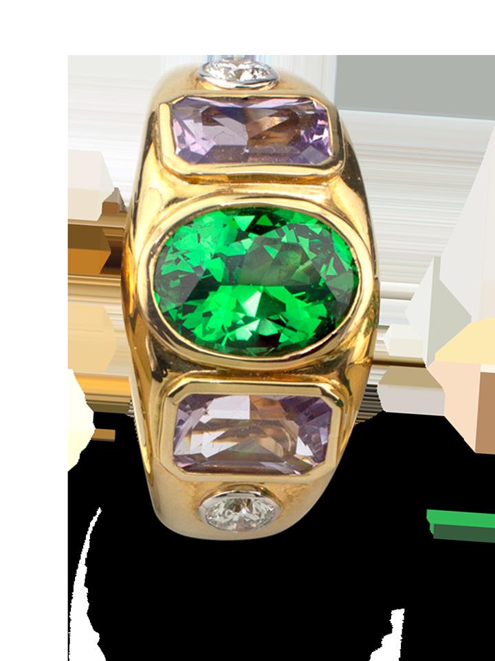 Tsavorite, Lavender Spinel &  Diamond Ring-2