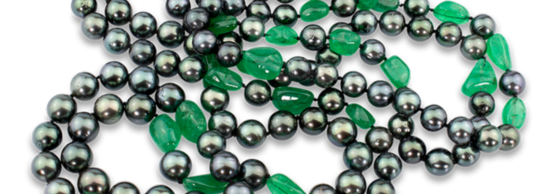"""Black Tahitian Pearl & Colombian Emerald Necklace - 85"""""""