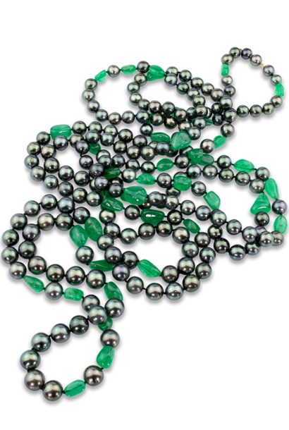 Black Tahitian Pearl & Colombian Emerald Necklace - 85""