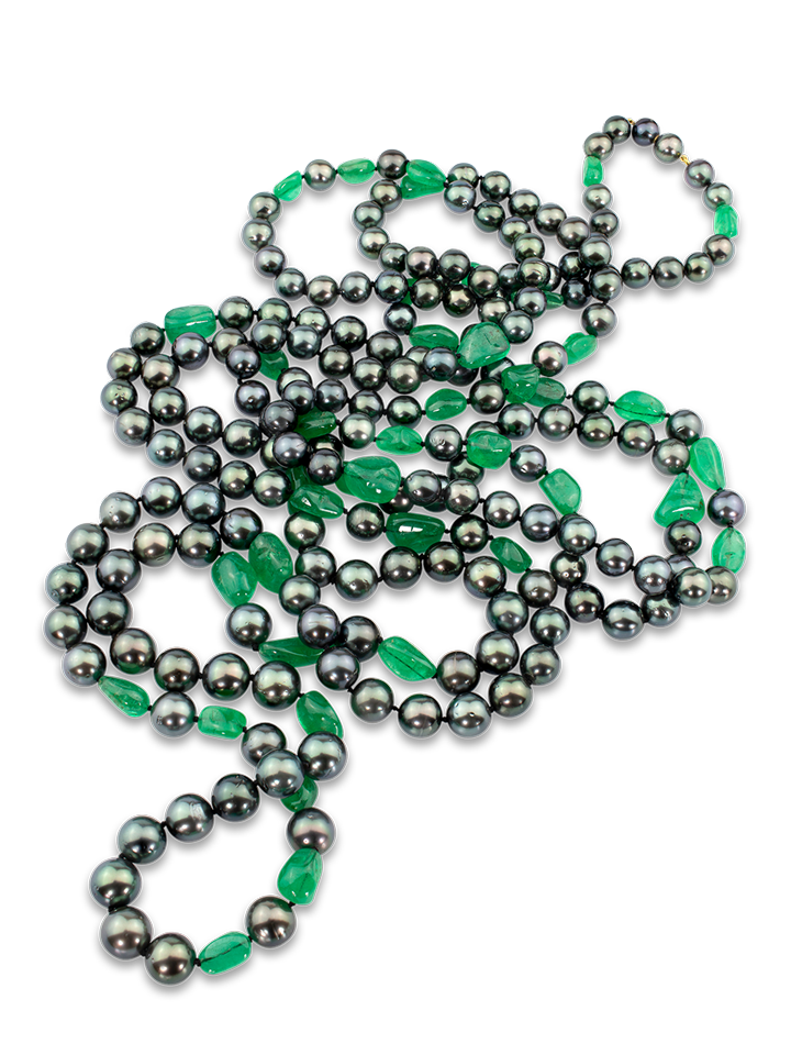 """Black Tahitian Pearl & Colombian Emerald Necklace - 85""""-1"""