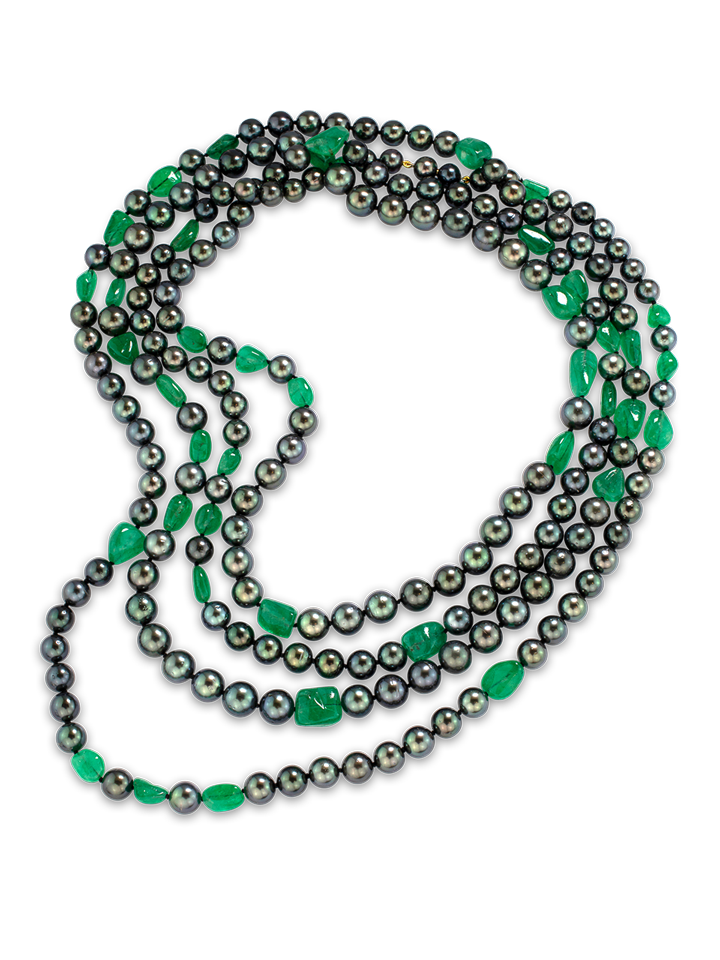 "Black Tahitian Pearl & Colombian Emerald Necklace - 85""-2"