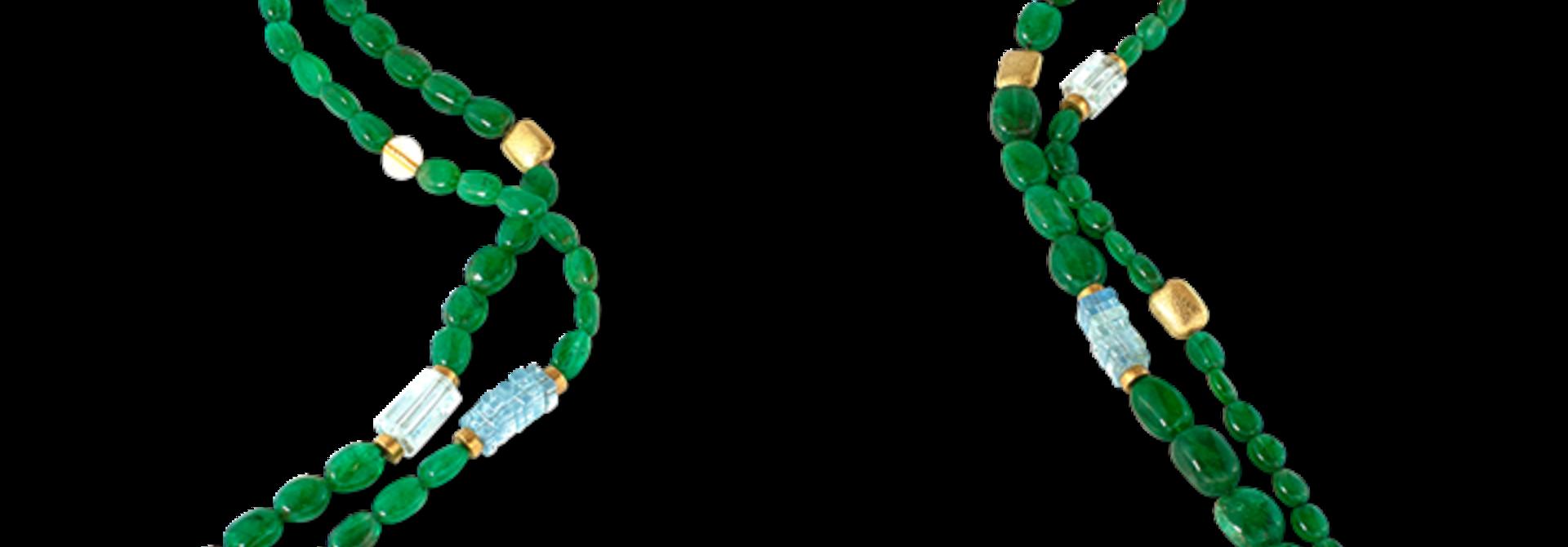"""Emerald, Aquamarine & Gold Necklace - 92"""""""