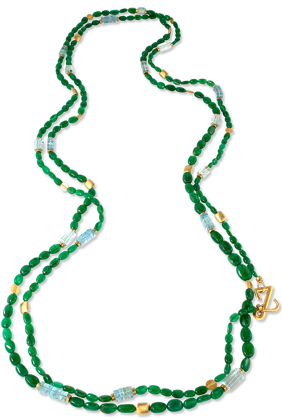 Emerald, Aquamarine & Gold Necklace - 92""