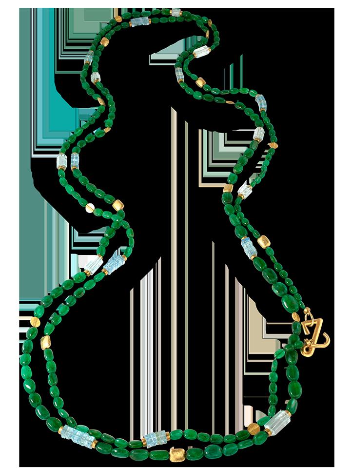 """Emerald, Aquamarine & Gold Necklace - 92""""-1"""