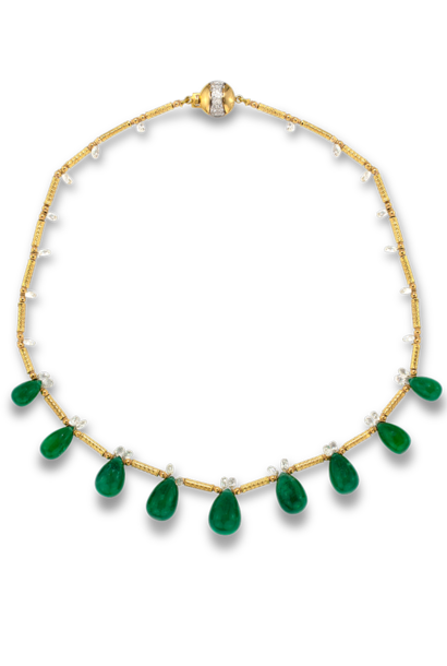 Colombian Emerald Briolette & Diamonds Necklace - 16""