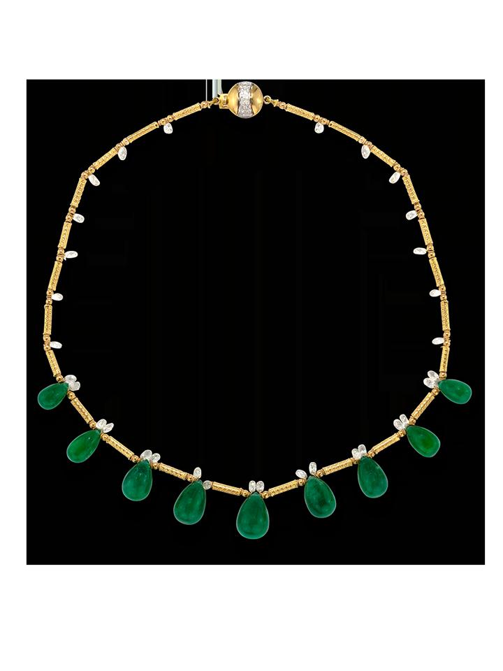 "Colombian Emerald Briolette & Diamonds Necklace - 16""-1"