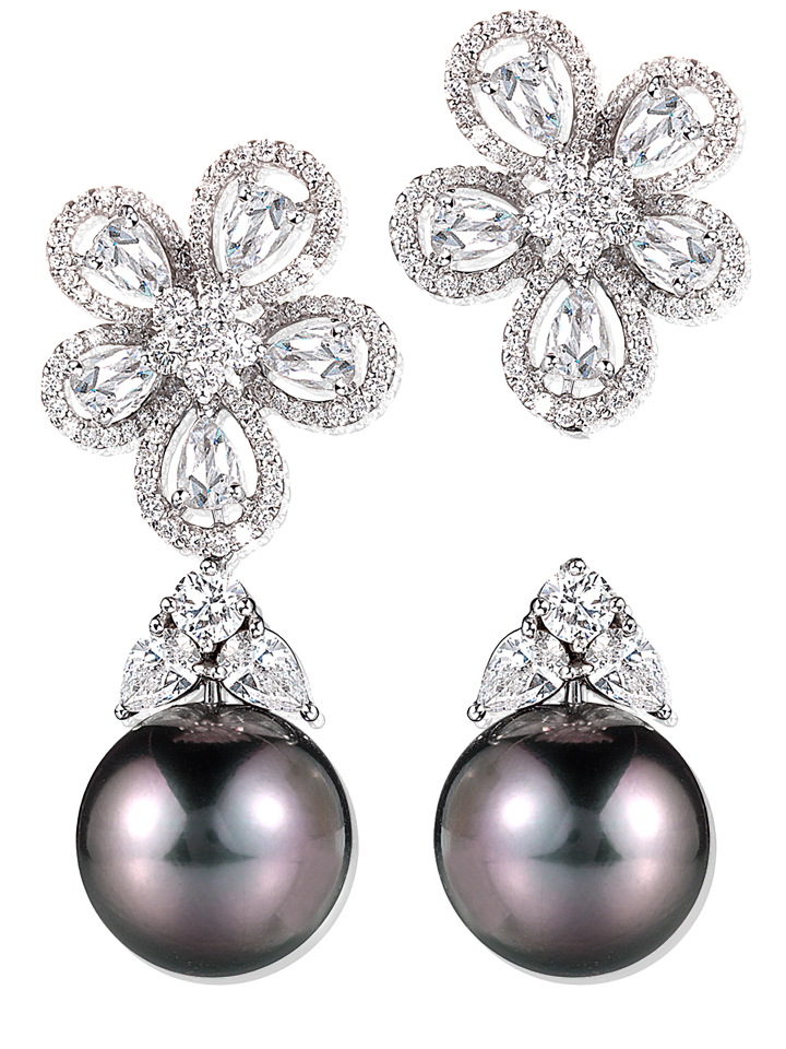 Tahitian Pearl and Diamond Earrings-1