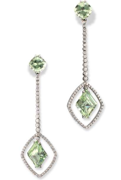 Chrysoberyl and Diamond Earrings