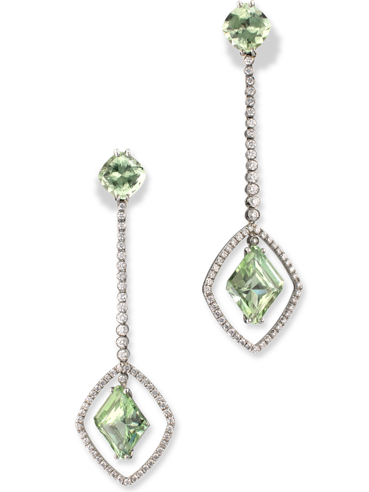 Chrysoberyl and Diamond Earrings-1