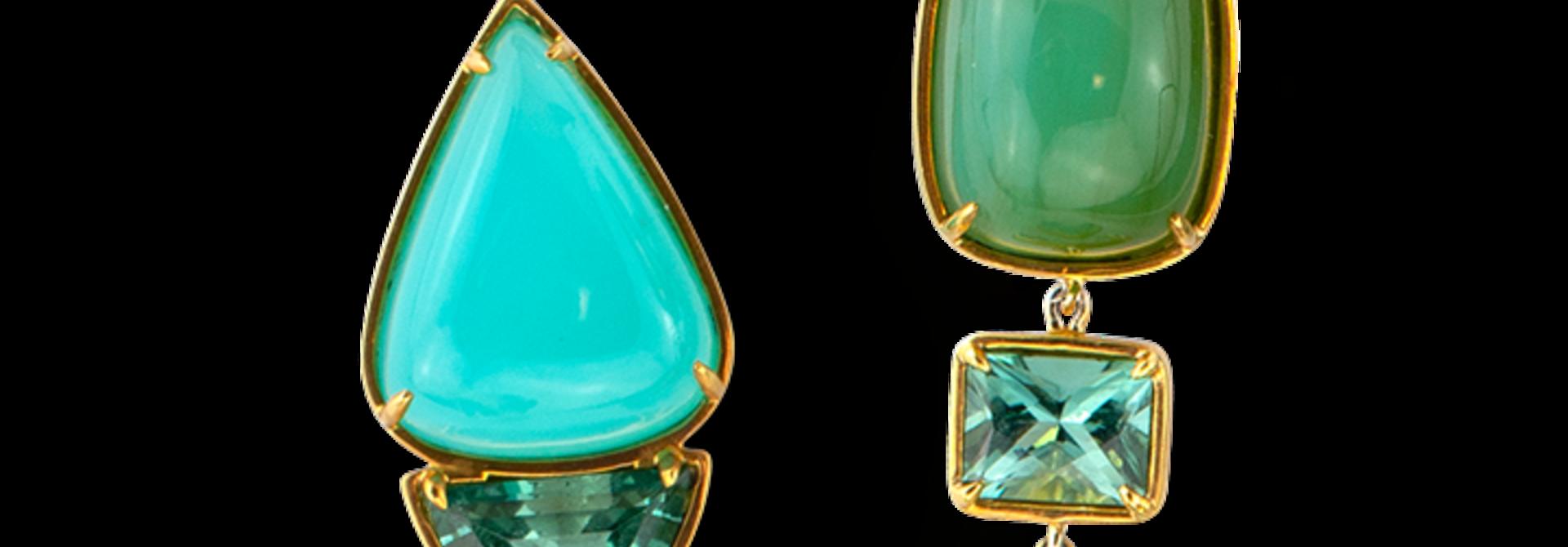 Peruvian Opal and Lagoon Tourmaline Earrings