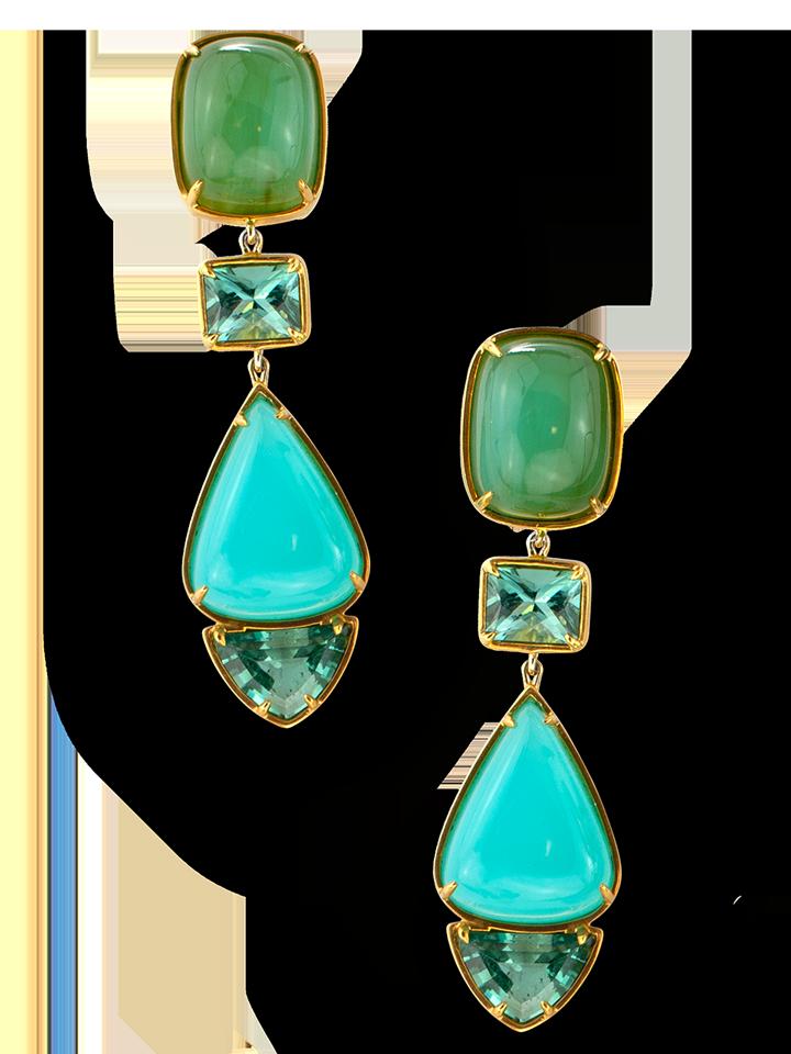 Peruvian Opal and Lagoon Tourmaline Earrings-1