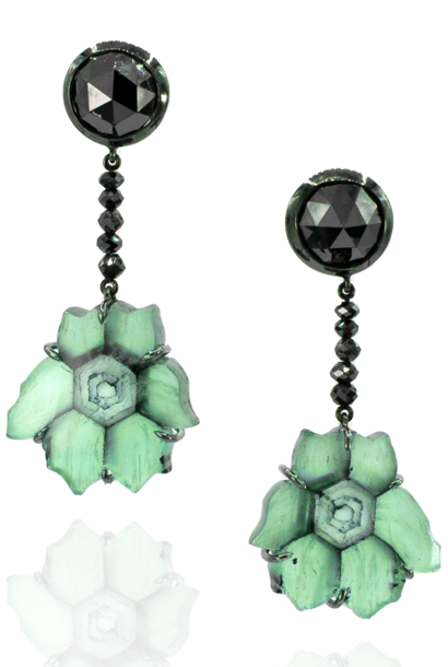 Trapiche Emerald & Black Diamond Earrings