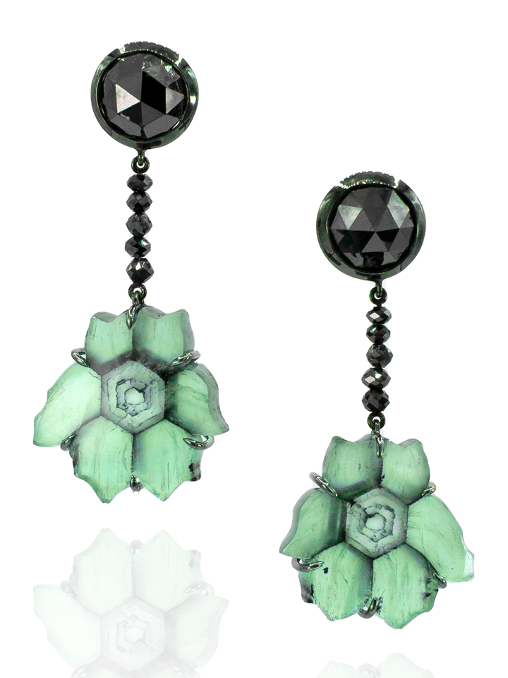 Trapiche Emerald & Black Diamond Earrings-1
