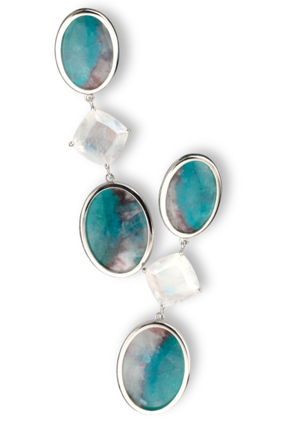 Paraiba Tourmaline Slice in Matrix and Moonstone Earrings