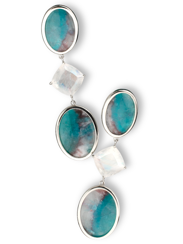 Paraiba Tourmaline Slice in Matrix and Moonstone Earrings-1