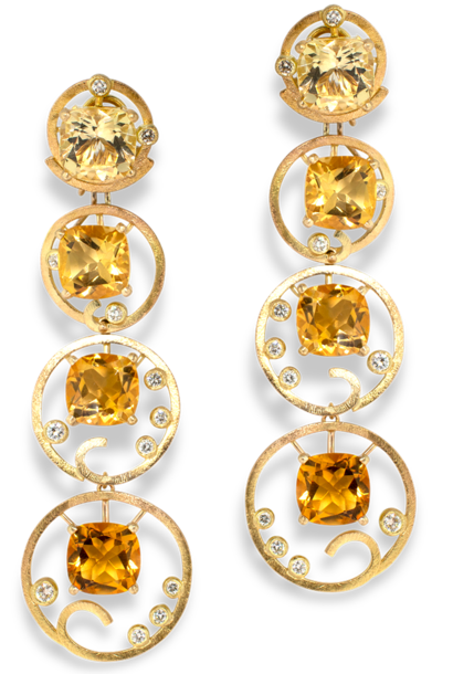 Ombre Citrine and Diamond Yellow Gold Earrings