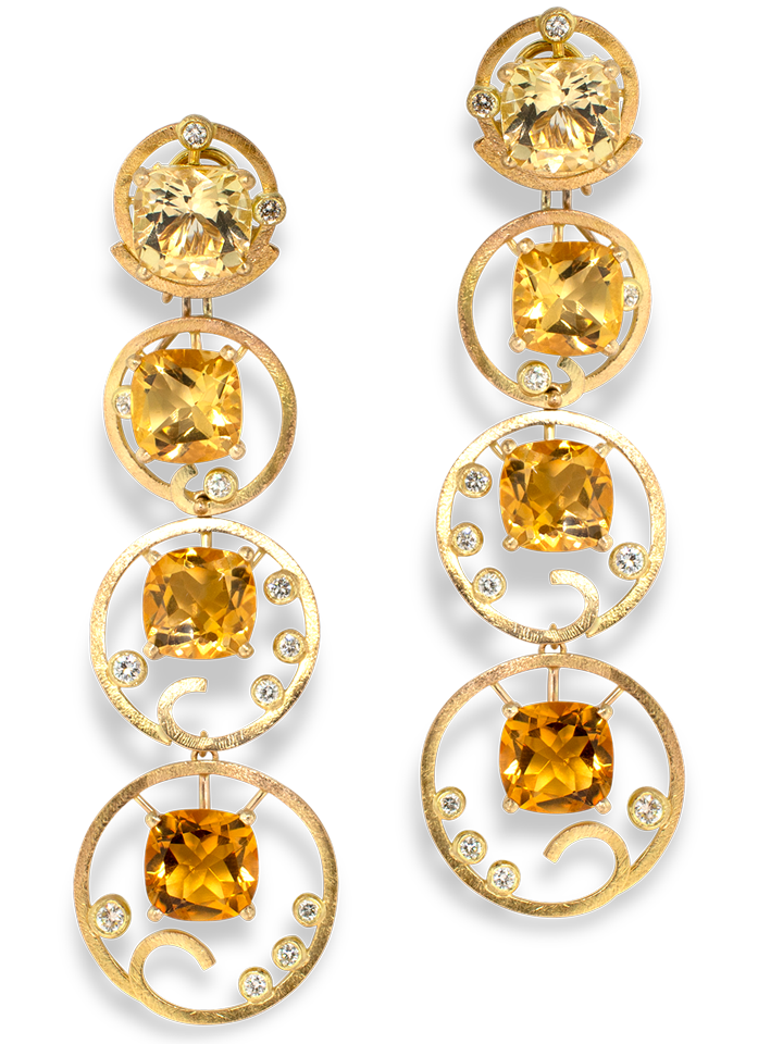 Ombre Citrine and Diamond Yellow Gold Earrings-1