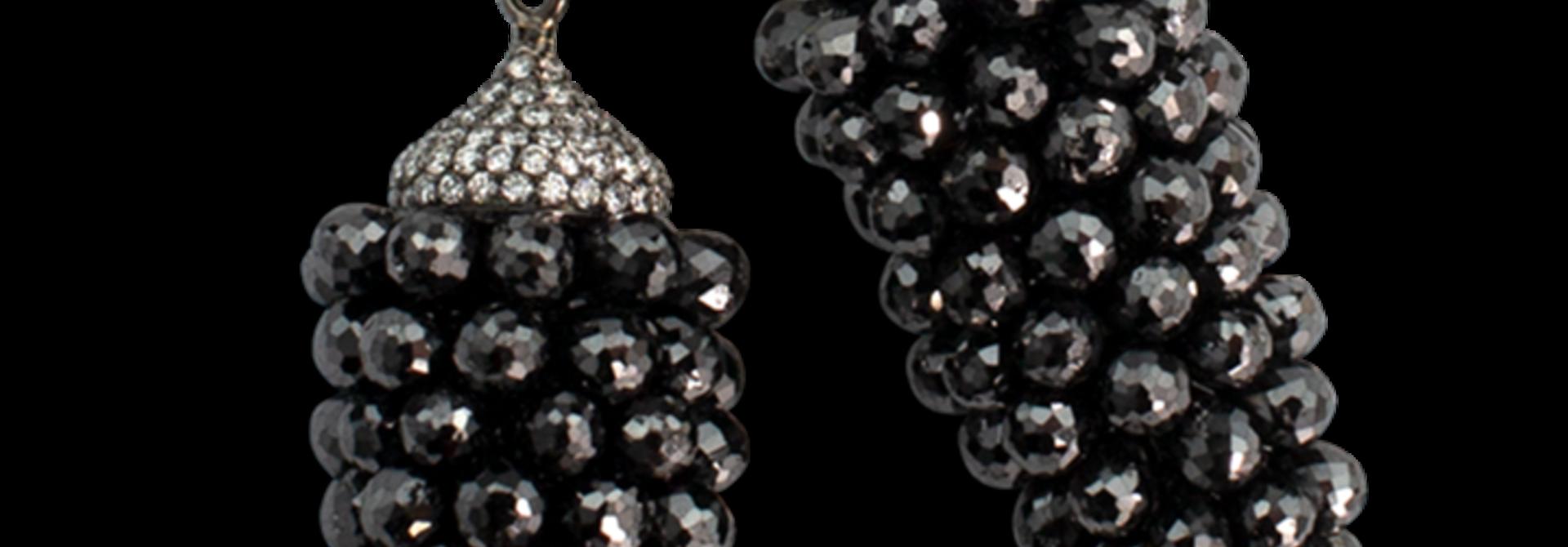 Black Diamond Briolette Earrings