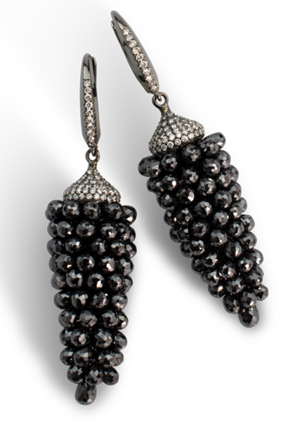 Black Diamond Briolette Earrings