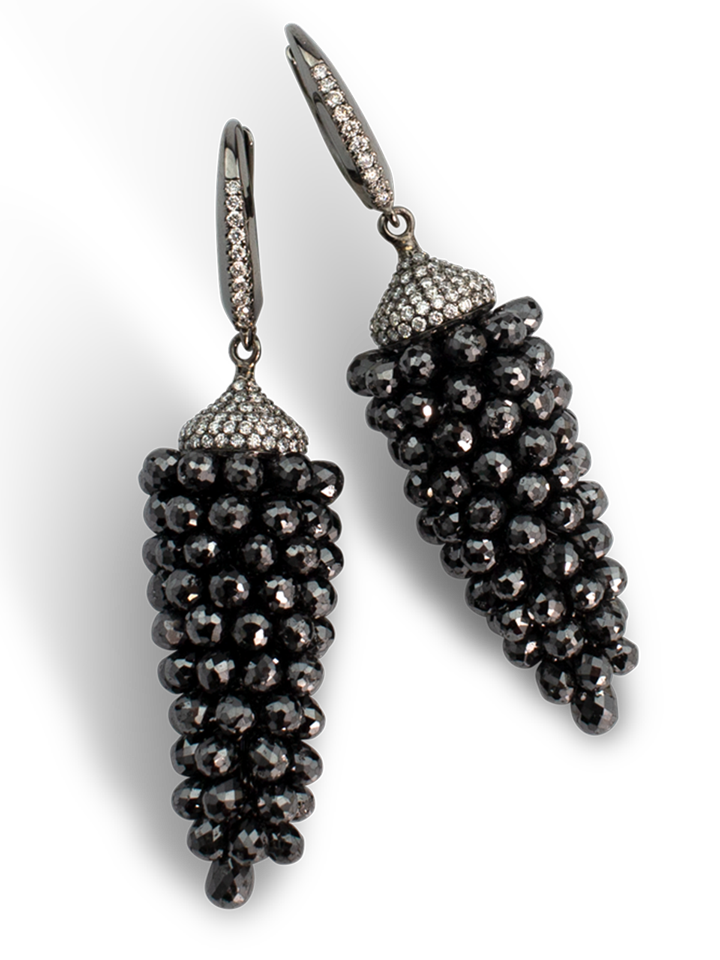 Black Diamond Briolette Earrings-1