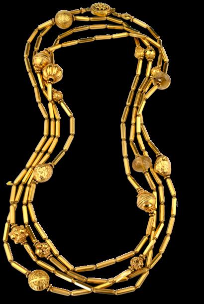 "18k & 22k Gold & Citrine Necklace - 80"""