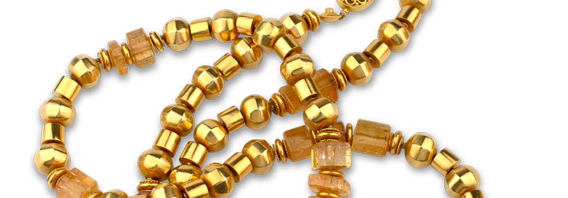 """Gold and Imperial Topaz Necklace - 36"""""""