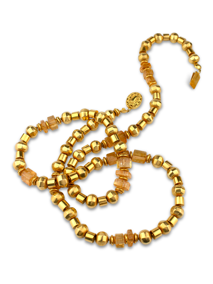 """Gold and Imperial Topaz Necklace - 36""""-1"""