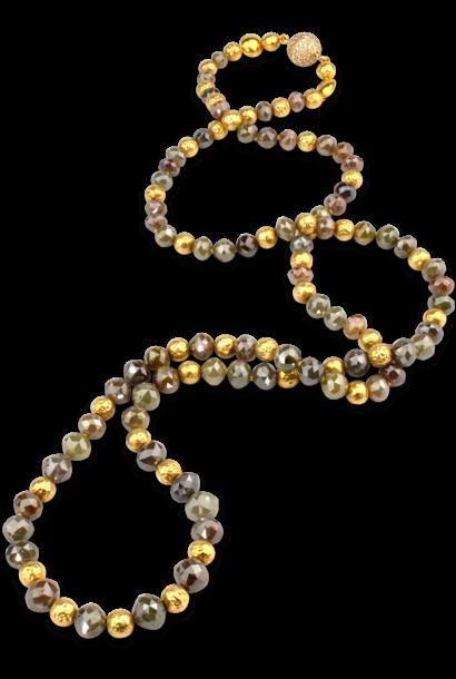"Rustic Multi-Hue Brown Diamond Necklace - 32"""