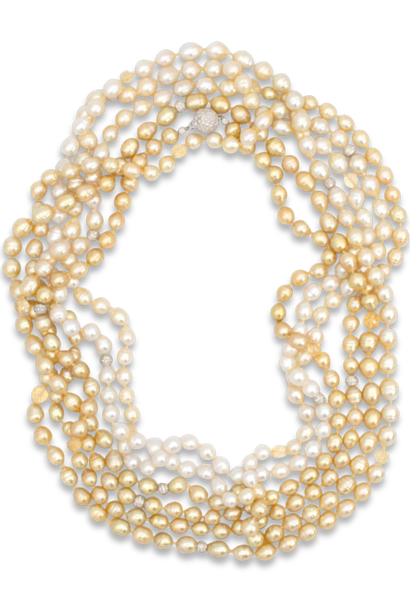 Ombre South Sea White & Golden Baroque Pearl Necklace - 140""