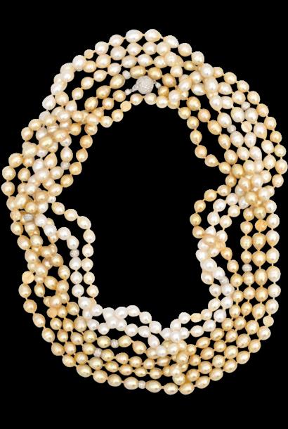 "Ombre South Sea White & Golden Baroque Pearl Necklace - 140"""