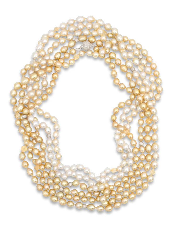 "Ombre South Sea White & Golden Baroque Pearl Necklace - 140""-1"