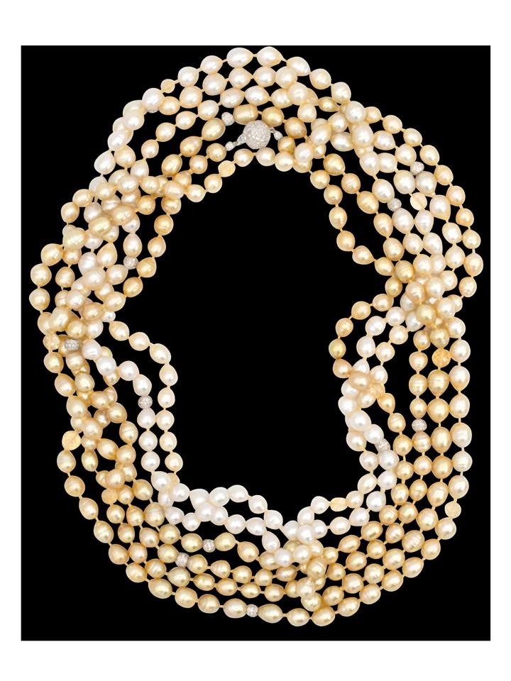 "Ombre South Sea White & Golden Baroque Pearl Necklace - 140""-1"