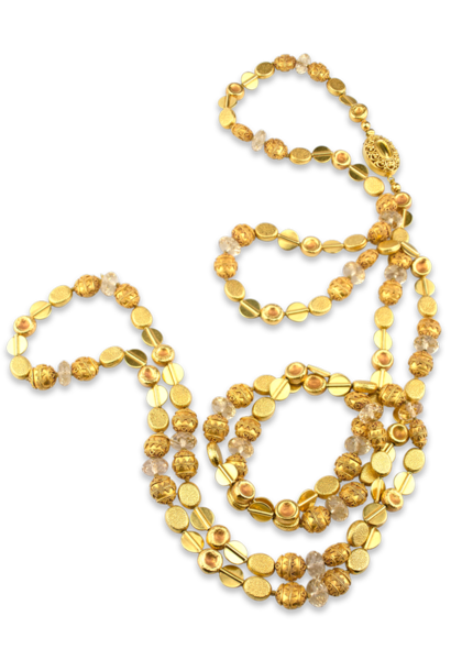 """Gold & Citrine Necklace - 54"""""""