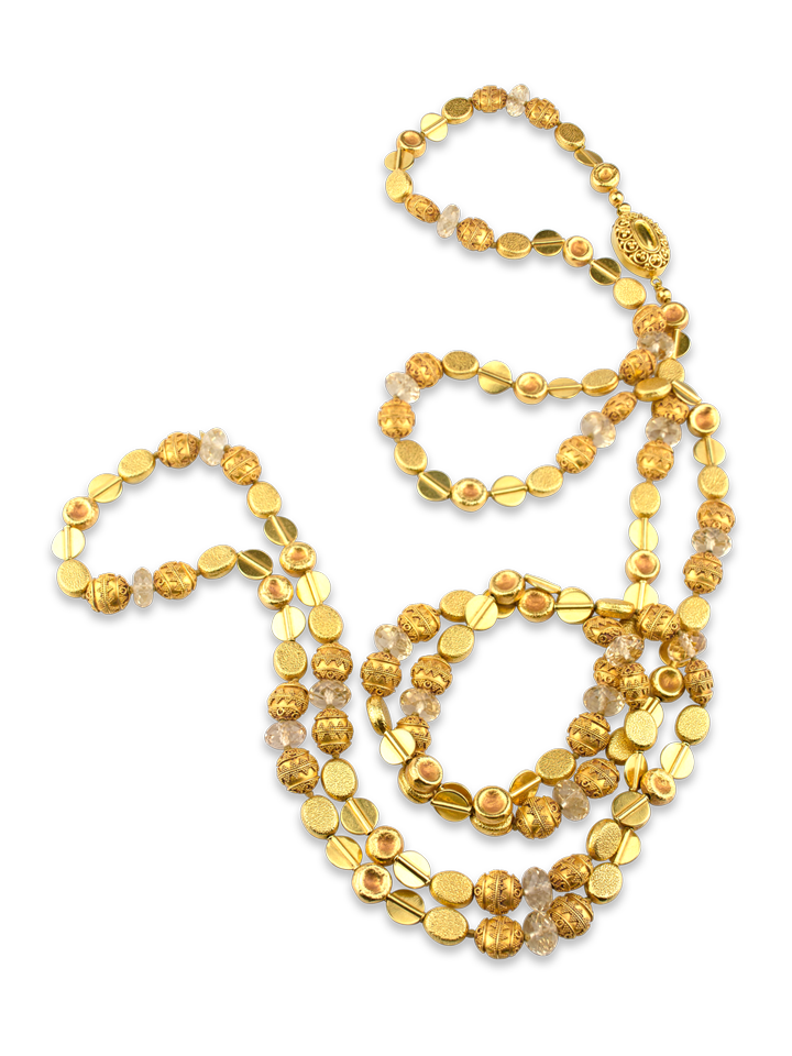 """Gold & Citrine Necklace - 54""""-1"""