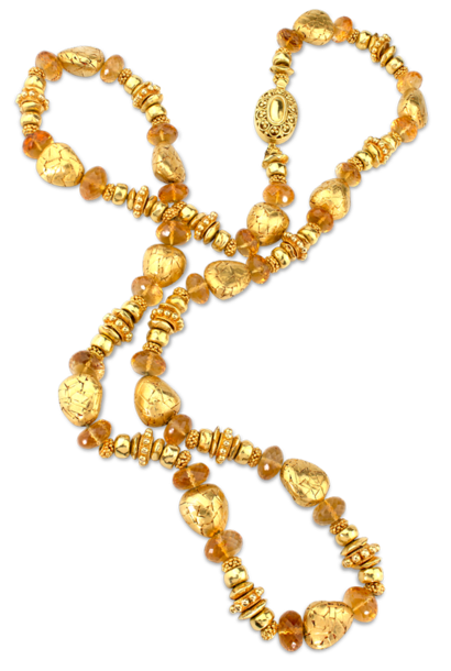 Handmade Gold Beads & Citrine Necklace - 30""
