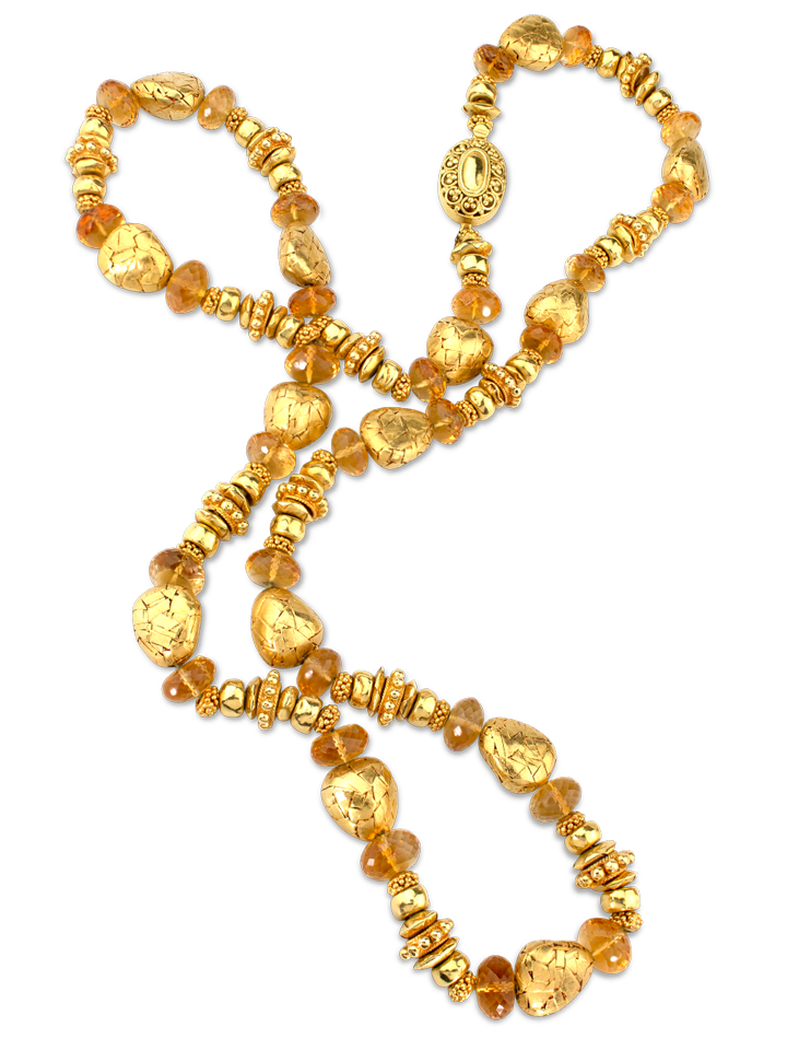 "Handmade Gold Beads & Citrine Necklace - 30""-1"