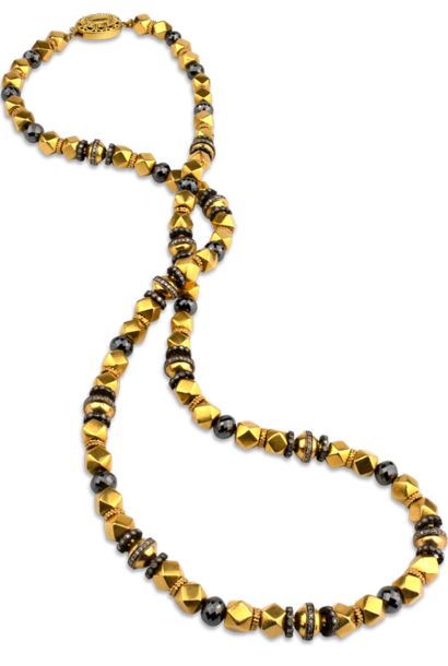 Black Diamond & 18K Gold Necklace - 28""