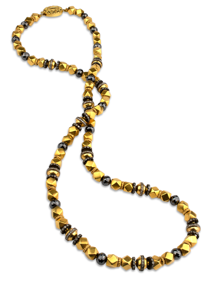 "Black Diamond & 18K Gold Necklace - 28""-1"