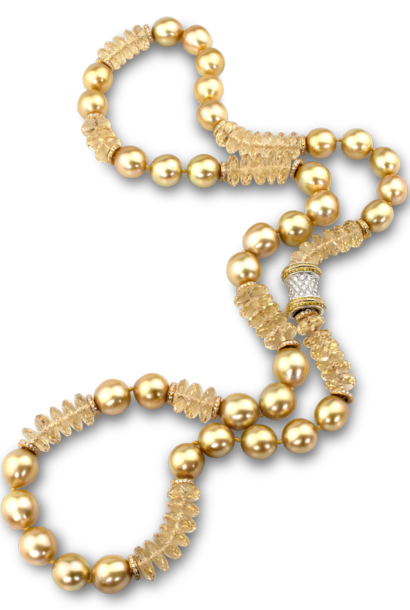 Golden South Sea Pearl & Heliodor Necklace - 28""