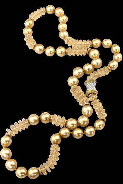 "Golden South Sea Pearl & Heliodor Necklace - 28"""