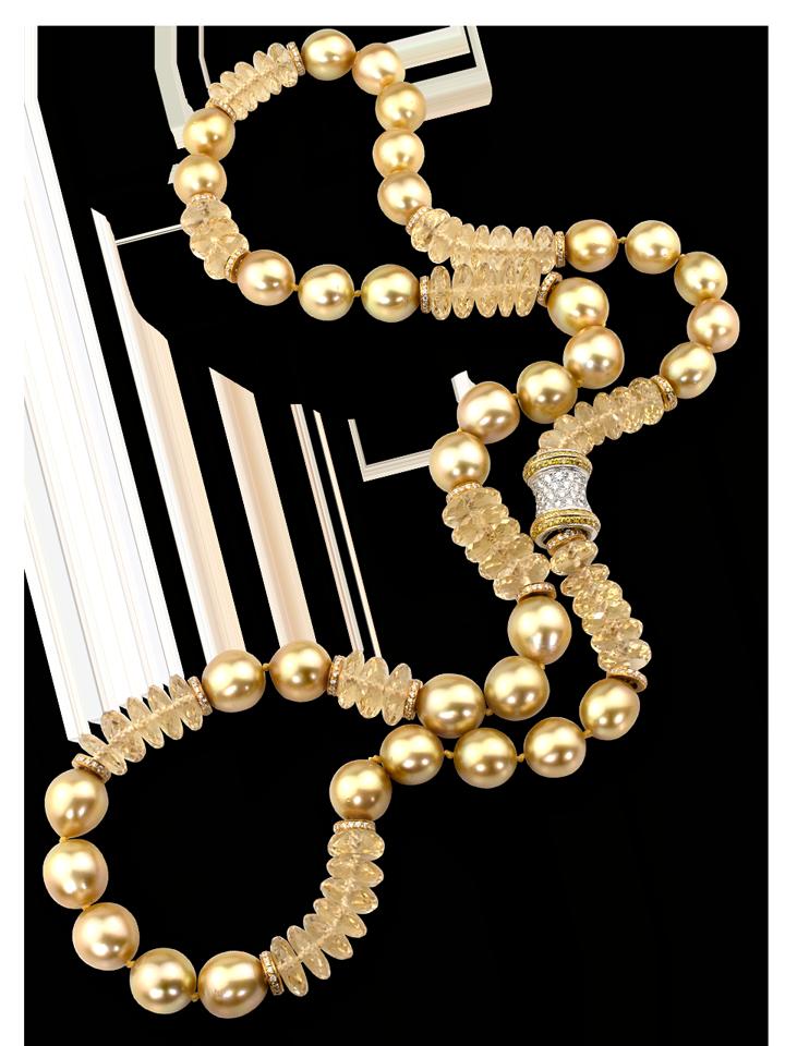 "Golden South Sea Pearl & Heliodor Necklace - 28""-1"