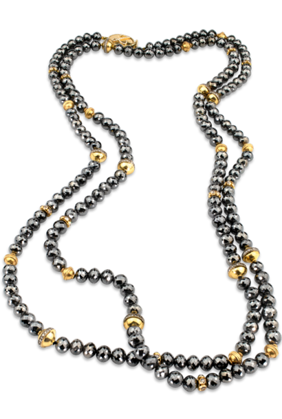 Black Diamond & Gold Necklace - 54""