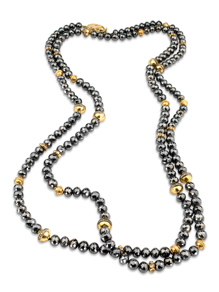 "Black Diamond & Gold Necklace - 54""-1"