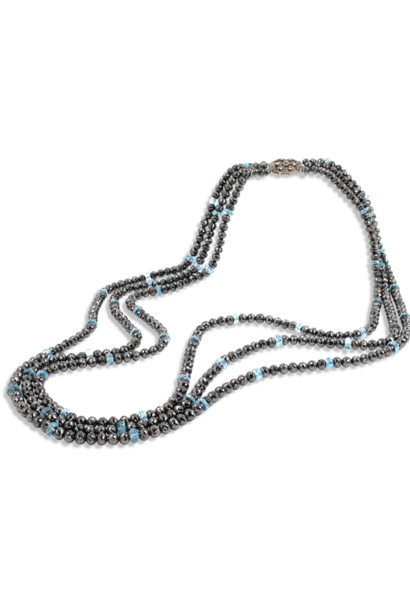 Black Diamond and Aquamarine Triple Strand Necklace - 34""
