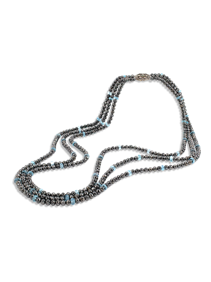 "Black Diamond and Aquamarine Triple Strand Necklace - 34""-1"