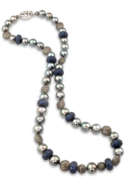Tahitian Pearl, Blue Sapphire and Diamond Necklace 26""