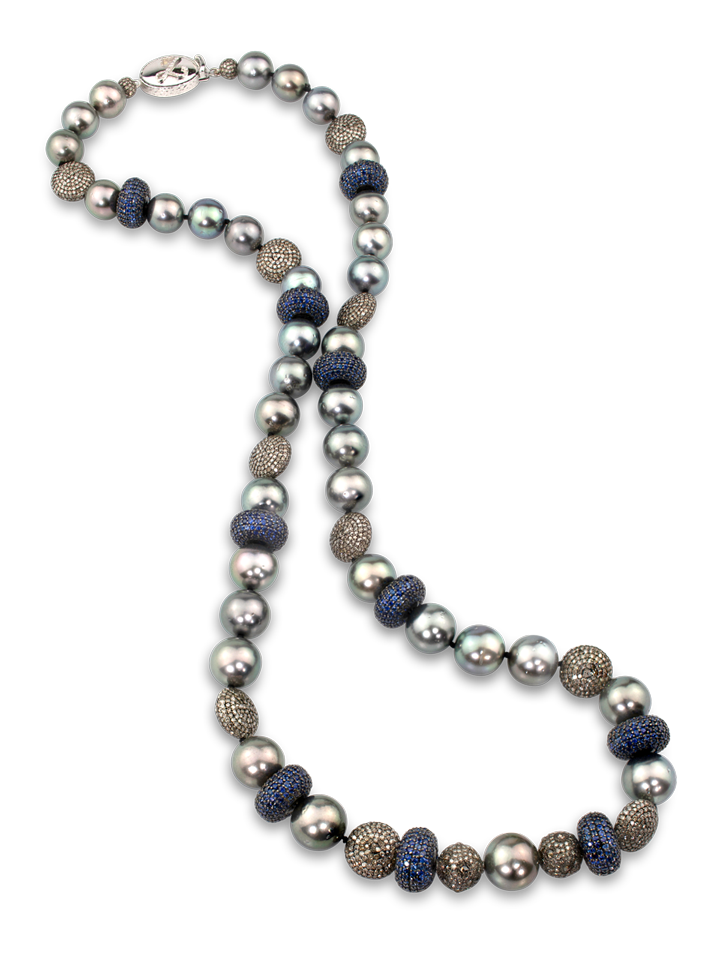 "Tahitian Pearl, Blue Sapphire and Diamond Necklace 26""-1"