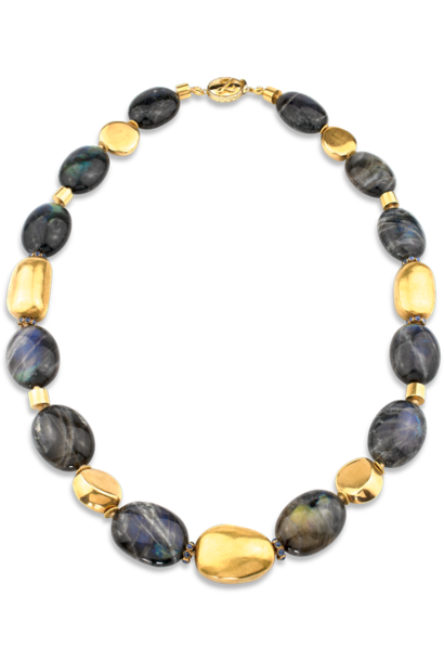 """Labradorite and Gold Necklace - 24"""""""